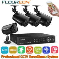 FLOUREON 4CH 1080N CCTV DVR 1500TVL Outdoor Camera IR Night Home Security System