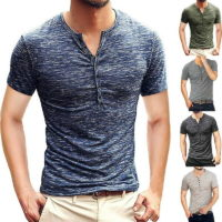 New Men's Casual Fashion Slim-Fit Sleeve Short Basic LO Shirts Henley shirts T