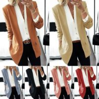 Women Plain Slim Blazer Suit Ladies Casual Loose Fit Office Formal Coat Outwear