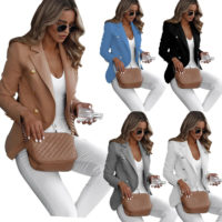 Womens Button Blazer Slim Work Office OL Jacket Long Sleeve Outwear Suit Coat UK