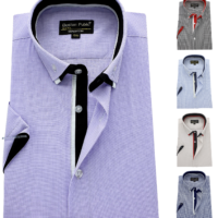 Men's Shirt Easy Care check Cotton Button Down Collar Formal Casual Short sleeve
