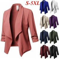 Womens Collar Suit Jacket Coat Blazer Ladies 3/4 Sleeve Cardigan Plus Size 8-22
