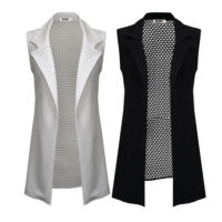 Womens Ladies Back Netted Longline Sleeveless Duster Blazer/ Jacket