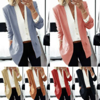 Womens Ladies Long Sleeve Slim Blazer Coat Work Fashion Jacket Formal Suit Tops