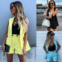 Women Ladies 2PCs Blazer Suit Sleeveless Jacket Coat Shorts Hot Pant OL Work Set