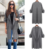 Plus Size Women Long Waterfall Coat Ladies Cardigan Jacket Overcoat Blazer Tops