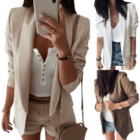 Women Long Sleeve Slim Blazer Casual Suit Formal Work OL Jacket Coat Outwear Top