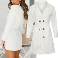 Womens Double Breasted Blazer Trench Coat Office Work Buttons Formal Slim Jacket