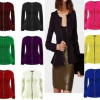 Ladies Womens Tailored Zip Up Peplum Ruffle Frill Jacket Blazer Top Plus Size