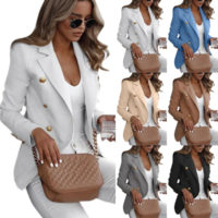 Womens Button Blazer Slim Work OL Jacket Long Sleeve Outwear Suit Coat Plus Size
