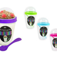 Breakfast To Go Pot Handy Yogurt Pot Cereal Compartment Healthy Snack Fruit Tub