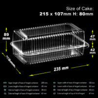 10-300 Plastic Disposable Clear Boxes Food, CAKE SIZE - 215mm/ 107mm/ 80mm - K35