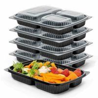 Meal Prep Food Containers 1,2,3 Compartment BPA Free Plastic Reusable Lunch Box