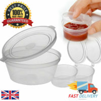 100 X 2oz Sauce Pots With Hinged Lids Round Food Containers Deli Pots SauceTubs