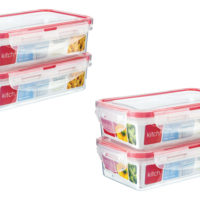 4 x 500ml Food Storage Container Box Clip Lock Airtight Clear Lunchbox Kitchen
