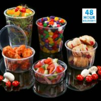 Round Food Containers Plastic Clear Storage Tubs with Lids Deli Pots Sauce Dip