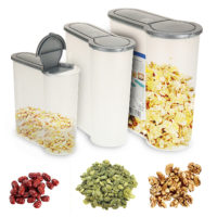 Set x 3 Cereal Boxes Plastic Containers Food Dry Storage Box Dispenser Air Tight