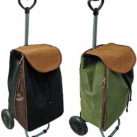New 2 Wheel Suede Leather Water proof Shopping Trolley Luggage Cabin Pull Bag