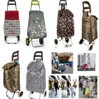 Large Capacity Light Weight Wheeled Shopping Trolley Push Cart Bag Waterproof