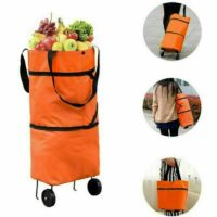 Folding Grocery Cart Shopping Trolley Fold Up Storage Bag Box Wheels Foldable