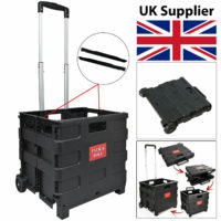 Black Folding Boot Cart Shopping Holiday Trolley Storage Box Crate Foldable 25kg