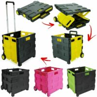 Folding Boot Cart Shopping Strong Trolley Fold Up Storage Box Basket Wheels