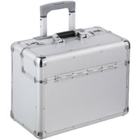 travel bag briefcase business pilot trolley suitcase lockable rollers silver new