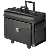 Travel Bag Briefcase Business Pilot Trolley Suitcase lockable rollers black