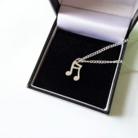 UK Seller Cute Vintage Silver Note Music Necklace Silver Plated Chain 18 inches