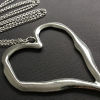Large Silver abstract Metal HEART Long Chain Necklace Lagenlook