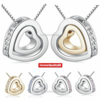 Fashion Women Pendant Jewelry Crystal Heart 925 Silver Necklace Chain