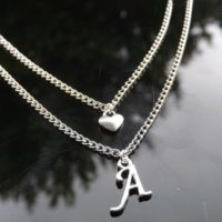 Personalised Initial Multi Layer Necklace, Heart Pendant & Silver Plated Letter