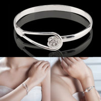 925 Sterling Silver Flower Bangle Bracelet Women Lady Charm Jewellery Gift Box