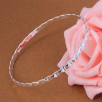 Lovely 925 Silver Bracelet Bangle Flat Sterling UK Seller B05
