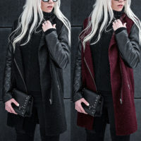 Women Winter Side Zip Long Sleeve Trench Coat Winter Parka Jacket Tops Outwear