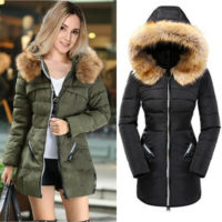 Women's Down Coat Fur Hood Winter Puffer Jacket Fit Outwear Quilted Sporty Parka