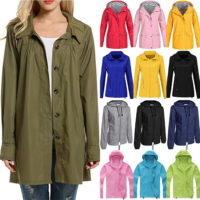 Women's Ladies Rain Mac Waterproof Jacket Anorak Hooded Coats Festival Rain Coat