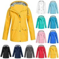 HOT WOMENS LADIES RAIN MAC RAINCOAT HOODIES PARKA FESTIVAL JACKET COAT UK SIZES