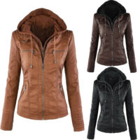 Womens Ladies Motorcycle Hooded PU Leather Biker Jacket Coats Parka Outerwear UK