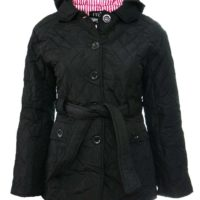 Size 16 18 Ladies Black Quilted Jacket Coat Parka Buttons Belt Hood Parker
