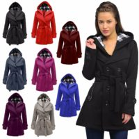 WOMEN'S LADIES CHECK HOODED DOUBLE BREASTED FLEECE JACKET WINTER PARKA COAT 8-20