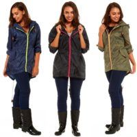 Ladies Rain Mac | Showerproof Jacket Coat Kagool Fishtail Parka Cagoule Raincoat
