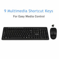 Combrite 2.4GHz Wireless Keyboard And Mouse Combo Set UK Full-Size & USB Dongle