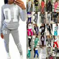 Womens Tracksuits Sweatshirt Tops Jogging Pants Sets Sportswear Gym Suit