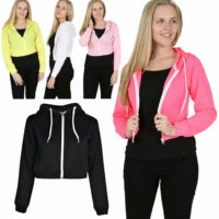 Womens Ladies Plain Cropped Hoodie Hooded Tops Sweatshirt Zip Up Jacket Jumper