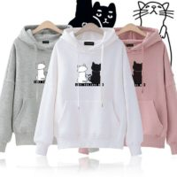 Womens Cat Print Sweatshirt Hoodies Pullover Ladies Casual Hooded Jumpers UK
