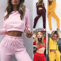 Women Tracksuit Crop Tops Hoodies Sweatshirt + Pants Set Lounge Wear Casual Suit