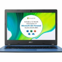 "ACER Aspire 1 14"" Laptop Intel Celeron 64GB eMMC Windows 10 S Blue"