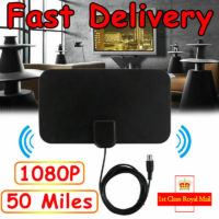 Ultra-Thin Indoor Digital TV Ariel HD Television Antenna 50 Miles Range Receiver