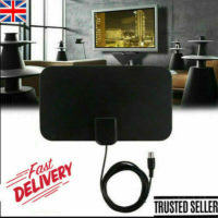2020 HDTV Digital TV Antenna Indoor Aerial HD Freeview Signal Thin 100 Mile UK